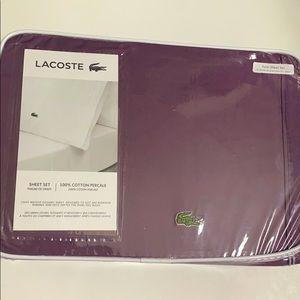 NWT Lacoste plum twin sheet set